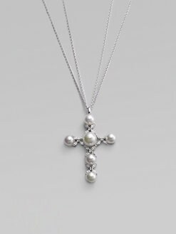 Majorica - 12MM White Pearl Cross Necklace
