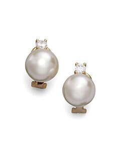 Majorica - 12MM White Pearl Earrings