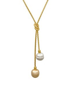 Majorica - 14MM White and Champagne Baroque Pearl Lariat Necklace