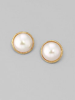 Majorica - 16MM White Mabe Pearl Earrings