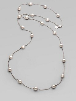 Majorica - 8MM White Round Pearl Illusion Necklace