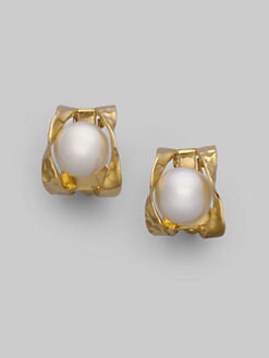 Majorica - 10MM White Pearl Button Earrings