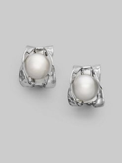 Majorica - 10MM White Pearl & Sterling Silver Button Earrings