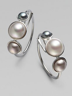 Majorica - 6MM, 8MM & 10MM Mabe Pearl Hoop Earrings/Sterling Silver