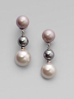 Majorica - 8MM-12MM Multicolor Pearl Earrings