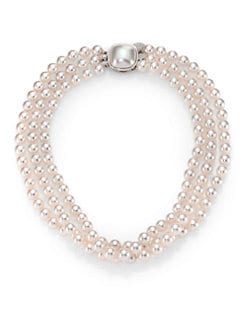 Majorica - 8MM White Pearl Three-Row Necklace/16