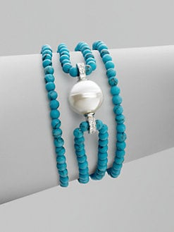 Majorica - 14MM Baroque Pearl & Sterling Silver Bracelet/Turquoise