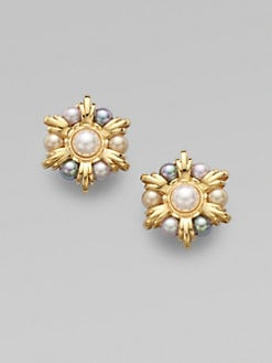 Majorica - 8MM Mabe White & 6MM Grey, Nuage & Champagne Pearl Earrings