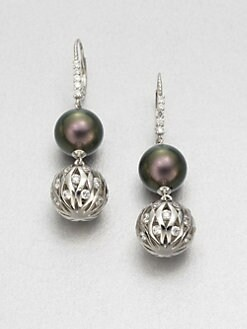 Majorica - 12MM Tahitian Pearl Drop Earrings