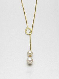 Majorica - 10MM-12MM White Round Pearl Lariat Necklace