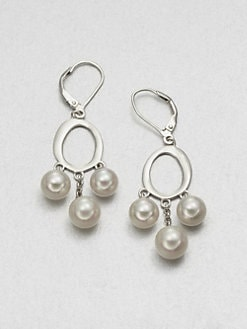 Majorica - 7MM-8MM White Round Pearl Drop Earrings
