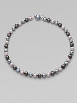 Majorica - 8MM Round Grey, Nuage & Tahitian Pearl Strand Necklace