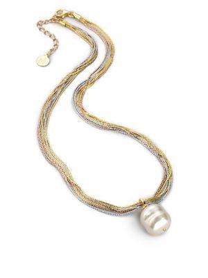 16MM White Baroque Pearl Multi-Chain Pendant Necklace