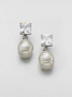 Majorica - Crystal & 16MM Baroque White Pearl Earrings