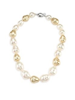 Majorica - 14MM and 16MM White and Champagne Baroque Pearl Necklace