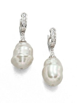 Majorica - 25MM Baroque Pearl Huggie Drop Earrings