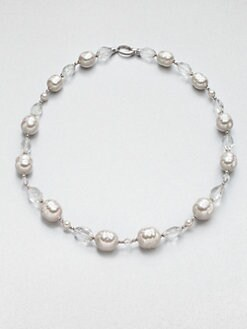 Majorica - 6MM Round and 14MM Baroque Pearl and Clear Quartz Necklace