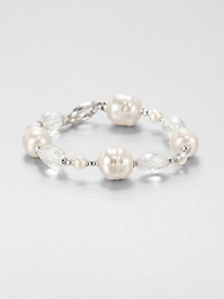 Majorica - 12MM and 14MM Baroque and 6MM Round Pearl and Clear Quartz Bracelet