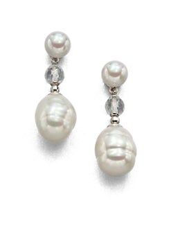 Majorica - 8MM Round and 12MM Baroque Pearl Earrings