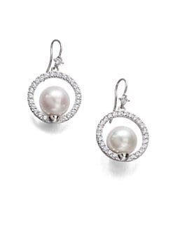 Majorica - 12MM Pearl Halo Earrings