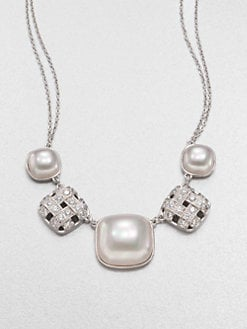 Majorica - 10MM and 18MM Mabé Pearl and Grid Necklace