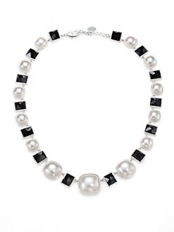 Majorica - White Mab&#233; Pearl and Black Crystal Necklace