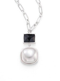 Majorica - White Mabé Pearl and Black Crystal Pendant Necklace