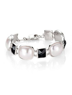 Majorica - White Mabé Pearl and Black Crystal Bracelet