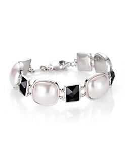 Majorica - White Mab&#233; Pearl and Black Crystal Bracelet