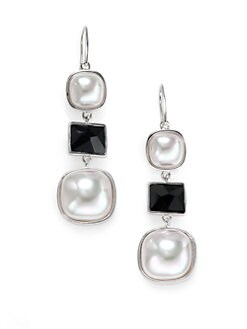 Majorica - White Mabé Pearl, Black Crystal and Sterling Silver Earrings
