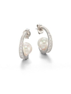 Majorica - 10MM Pearl J Hoop Earrings