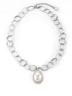 Majorica - 22MM White Baroque Pearl Chain Necklace/16