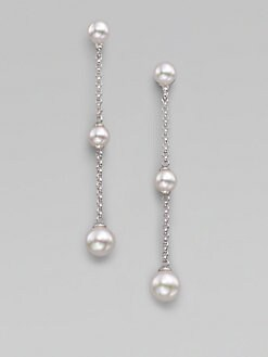 Majorica - 6MM-8MM White Pearl & Sterling Silver Drop Earrings
