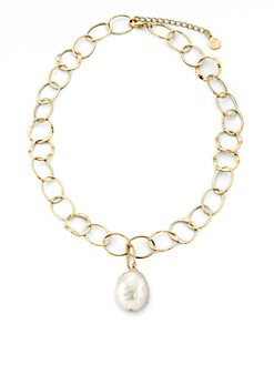 Majorica - 22MM White Baroque Pearl Chain Necklace