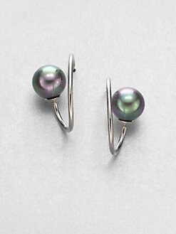 Majorica - 10MM Grey Round Pearl Swirl Hoop Earrings