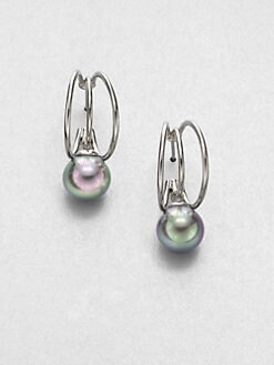 Majorica - 10MM Grey Round Pearl Triple Hoop Earrings