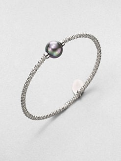 Majorica - 12MM Grey Round Pearl Bangle Bracelet