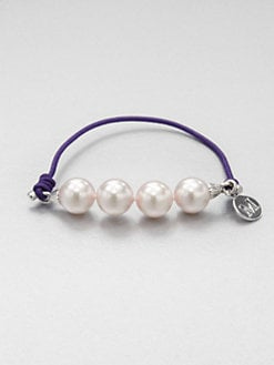 Majorica - 10MM Round White Pearl Elastic Stretch Bracelet