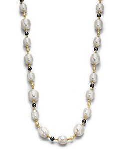 Majorica - 12MM-16MM White Baroque & 6MM Round Champange Pearl Long Necklace