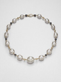 Majorica - 12MM-16MM White Baroque & 6MM Round Champange Pearl Necklace