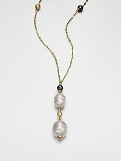 Majorica - 12MM-16MM White Baroque & 6MM Round Champange Pearl Pendant Necklace