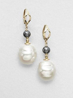 Majorica - 16MM White Baroque Pearl Drop Earrings