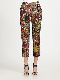 MaxMara - Silk/Cotton Animal-Print Pants