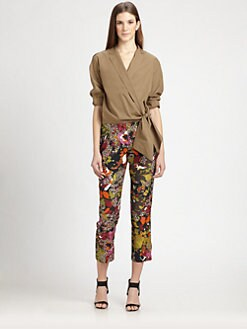 MaxMara - Woven Cotton Wrap Shirt