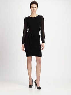 MaxMara - Sheer-Sleeve Knit Dress