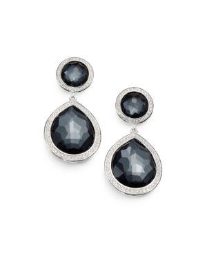 Stella Hematite, Diamond & Sterling Silver Two-Stone Drop Earrings
