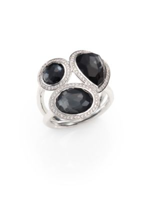 Hematite Doublet, Diamond & Sterling Silver Ring