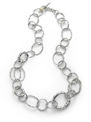 Classico Small Sterling Silver Hammered Bastille Link Necklace