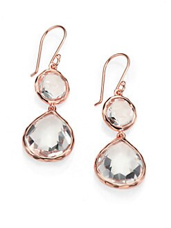 IPPOLITA - Clear Quartz Rosé Snowman Earrings