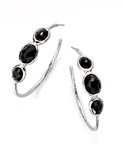 IPPOLITA - Sterling Silver Black Onyx Hoop Earrings